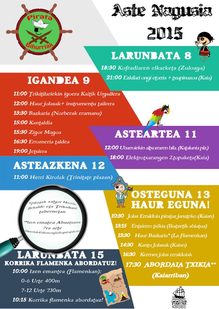 Aste Nagusi Pirata 2015 Donostia Egitaraua