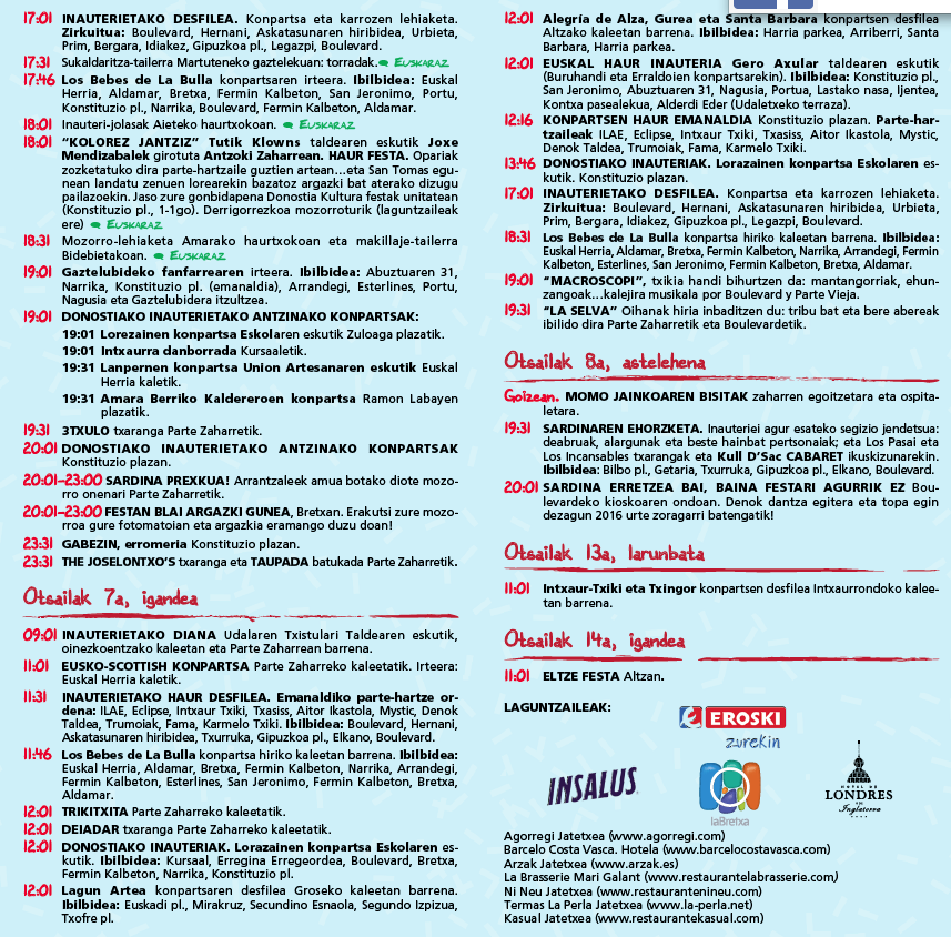 Carnaval San Sebastián 2016 programa