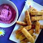 Las recetas de km.0: Palitos de polenta, queso y calabacín con hummus de remolacha by La boquita vegana