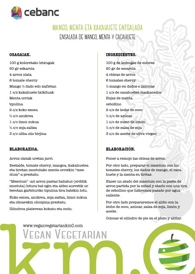 Ensalada de mango, menta y cacahuete Km.0 & Cebanc Jornadas Gastronómicas Escuela de Hostelería de Leioa