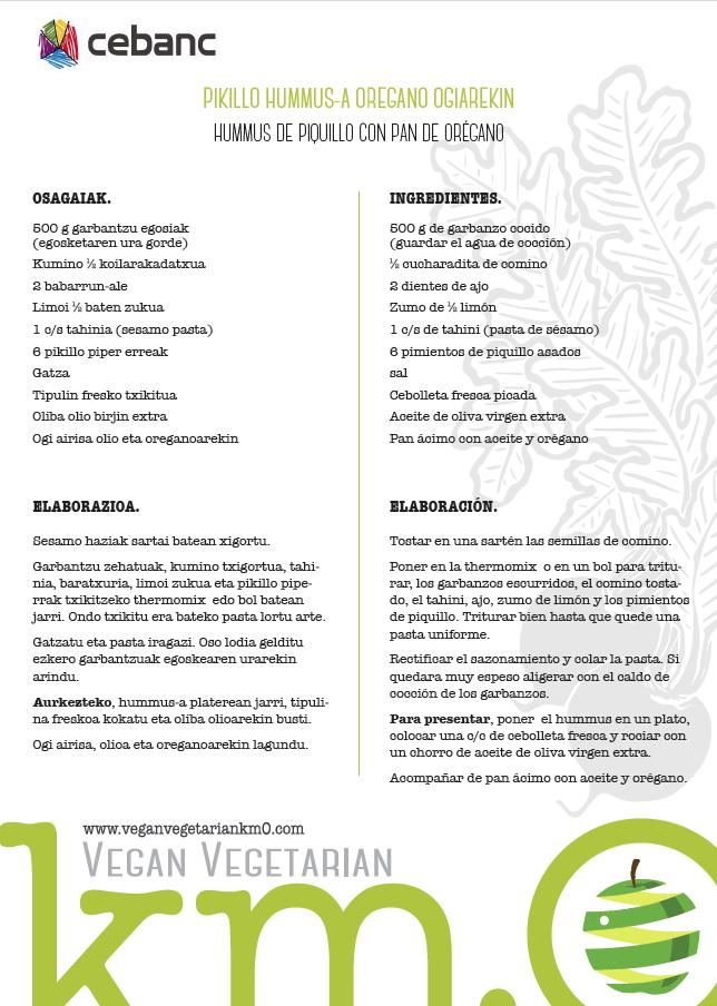 Recetas veganas hummus de piquillo con pan de orégano