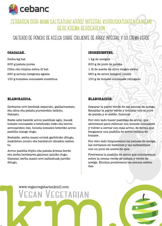 recetas veganas salteado de pencas de acelga sobre crujiente de arroz integral y su crema verde