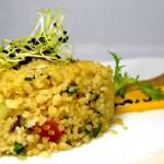Las recetas de km.0: Tabbouleh de bulgur con crema de gazpacho y zanahoria