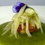 Las recetas de km.0: Salteado de pencas de acelga sobre crujiente de arroz integral y su crema verde