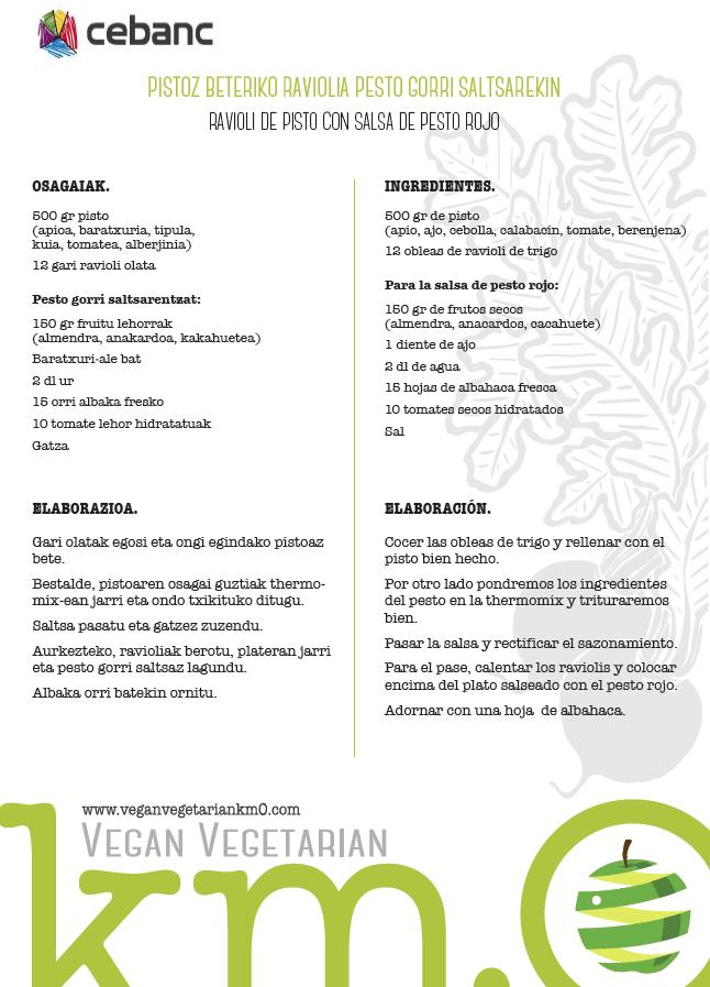Recetas veganas Ravioli de pisto con salsa de pesto rojo