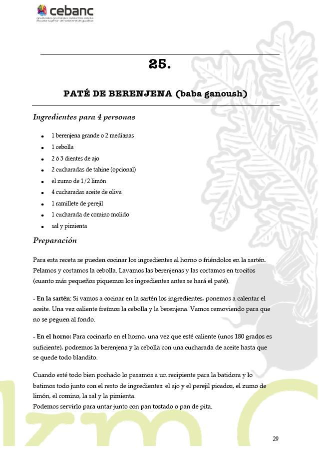 Recetas veganas Paté de Berenjena del Curso de cocina vegana vegetariana by Km0