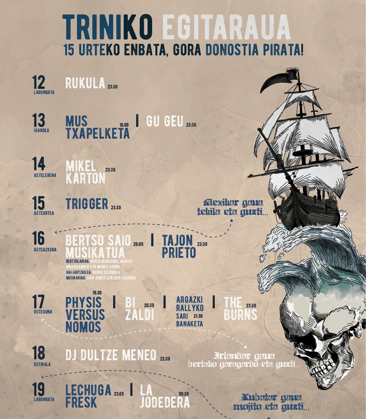 Donostiako Piratak 2017 Triniko Egitaraua